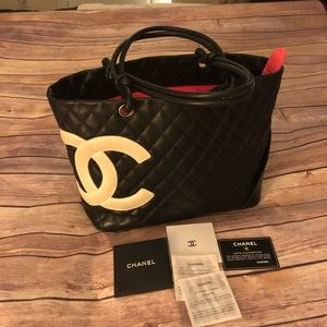 Auth,Chanel Cambon  line Cc mark Lambskin tote bag